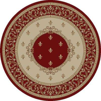 Jewel Fleur De Lysmedallion Red 5 ft. 3 in. Round Area Rug