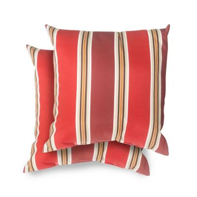 Hampton Bay 18 in. x 18 in. Chili Stripe Square Outdoor Throw Pillow (2 Pack)