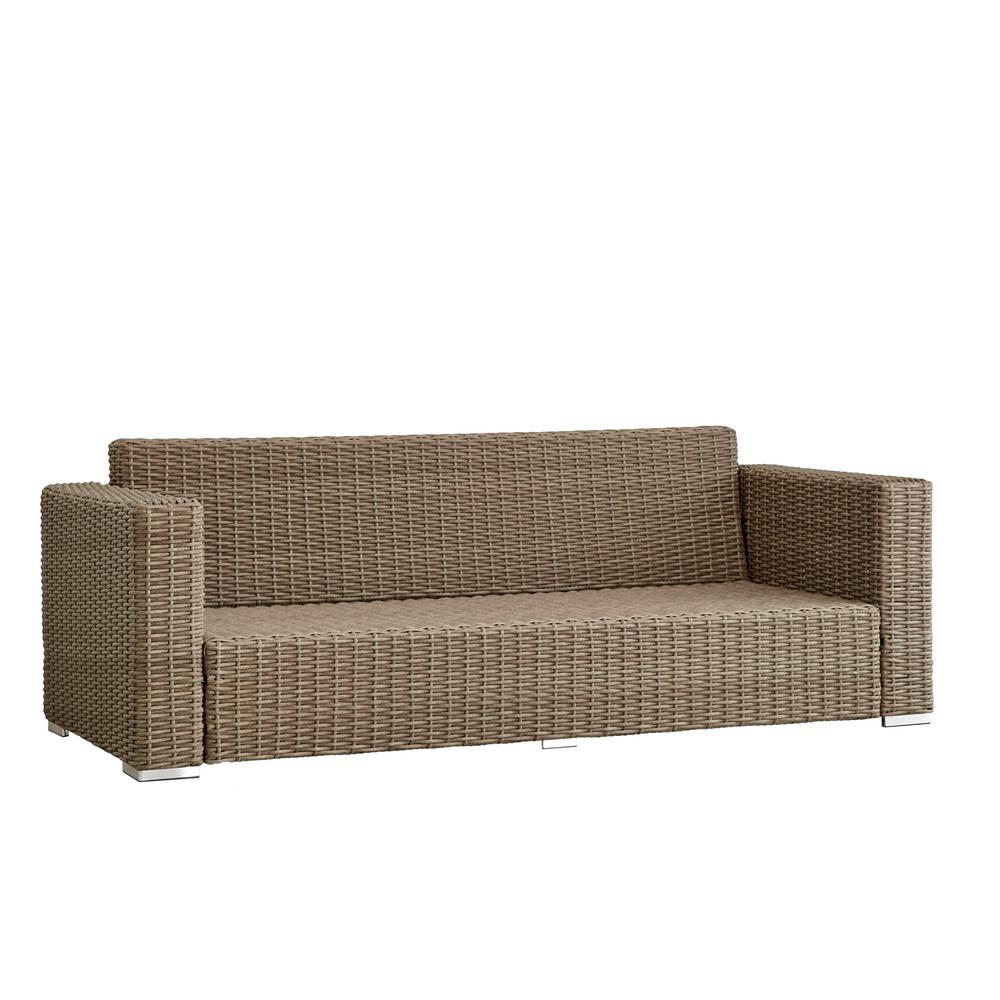Camari Mocha Square Arm Wicker Outdoor Sofa