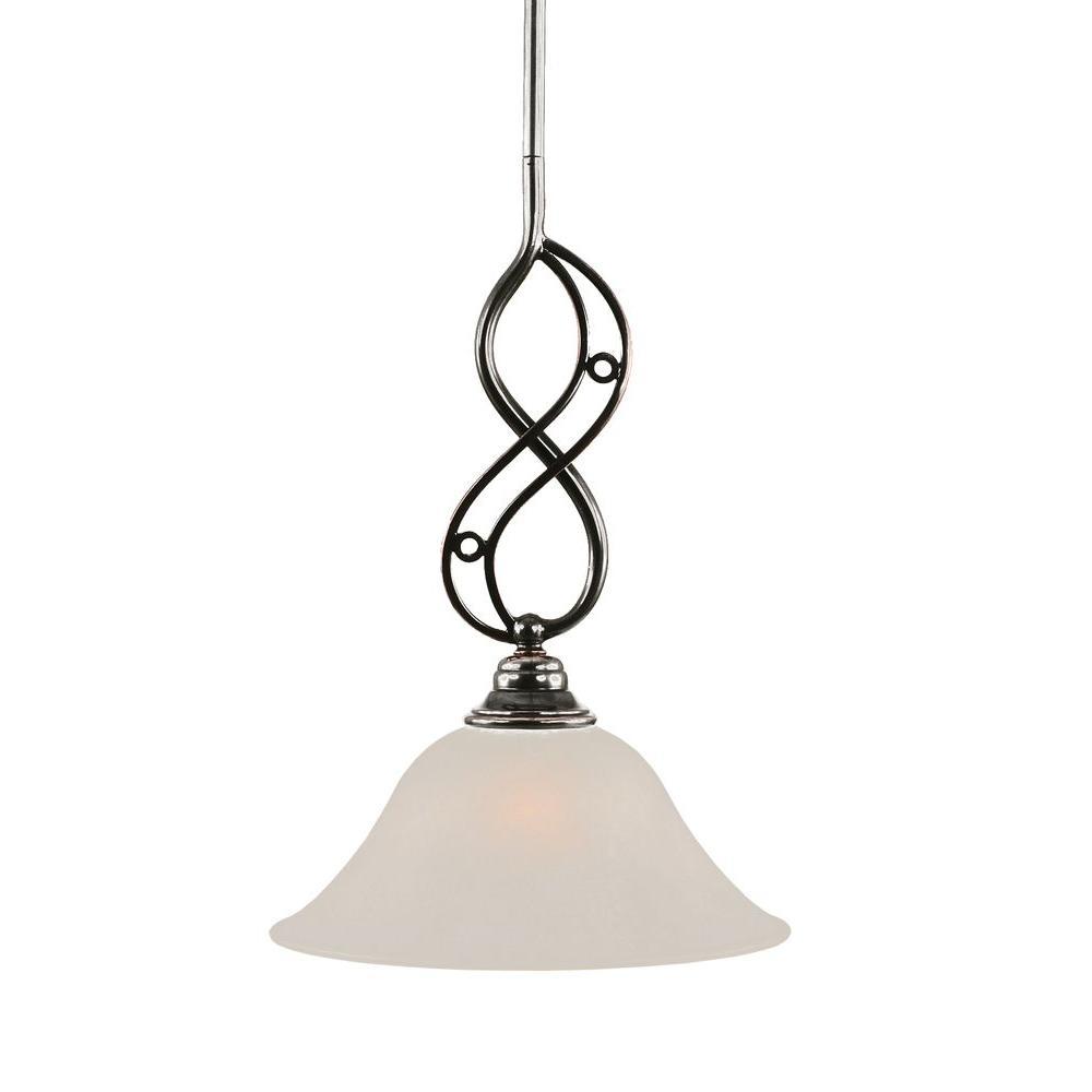 Filament Design 1-Light Black Copper Pendant with White Marble Glass