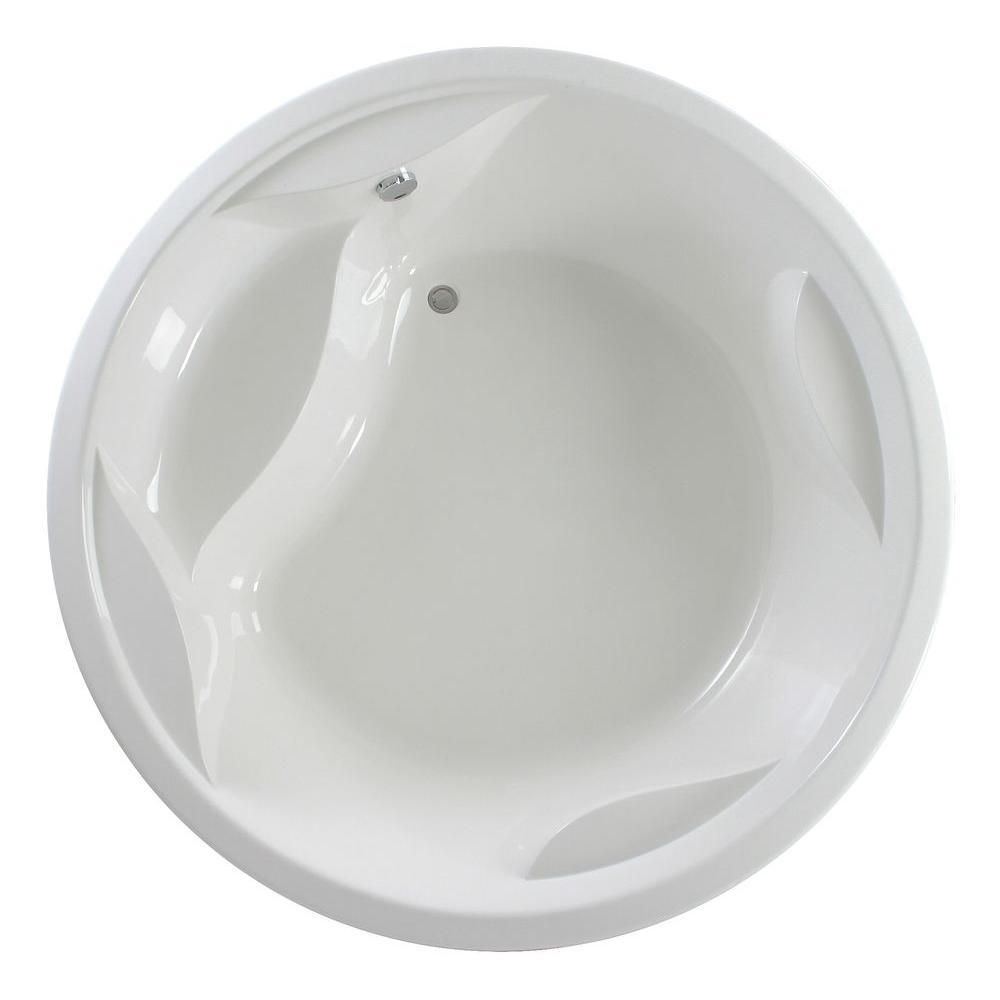 Aquatica Allegra 6.23 ft. Acrylic Round Drop-In Non-Whirlpool Bathtub in White