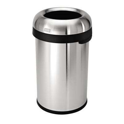 """80-Liter Heavy-Gauge Brushed Stainless Steel """"Bullet"""" Round Open Top Trash Can"""
