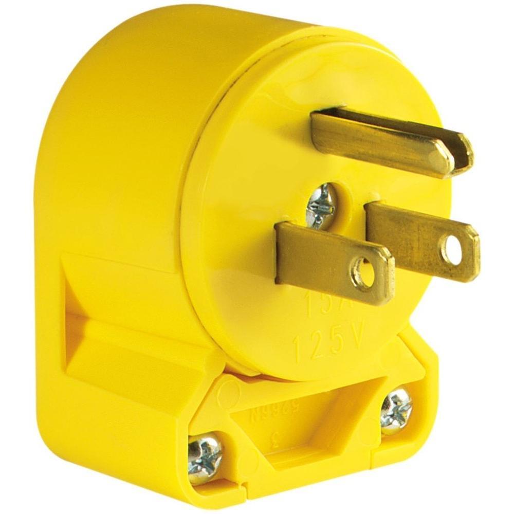 Eaton 15 Amp 125-Volt Heavy Duty Grade Vinyl Plug, Yellow-4867AN-BOX ...