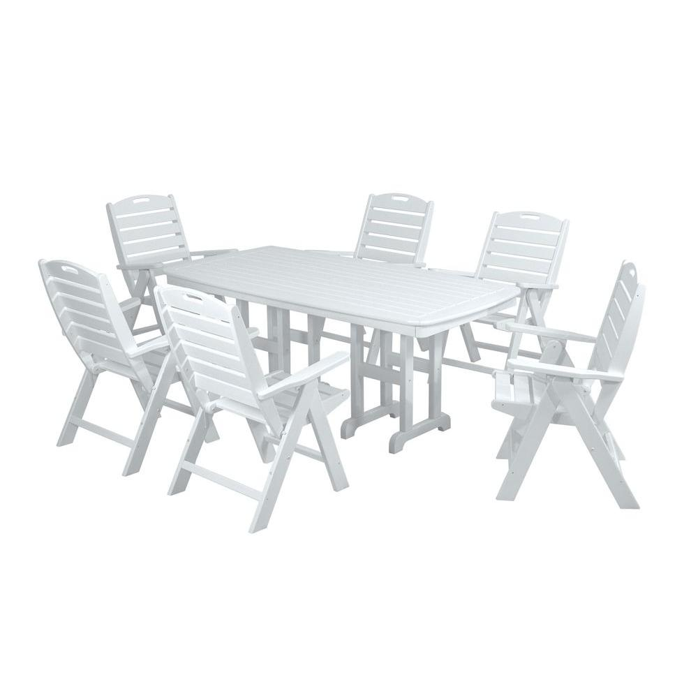 POLYWOOD Nautical White 7 Piece Plastic Outdoor Patio Dining Set