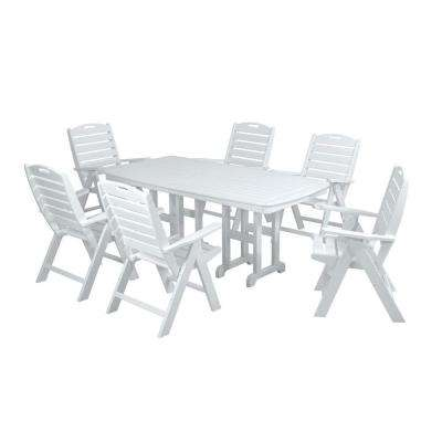 Nautical White 7-Piece Plastic Outdoor Patio Dining Set