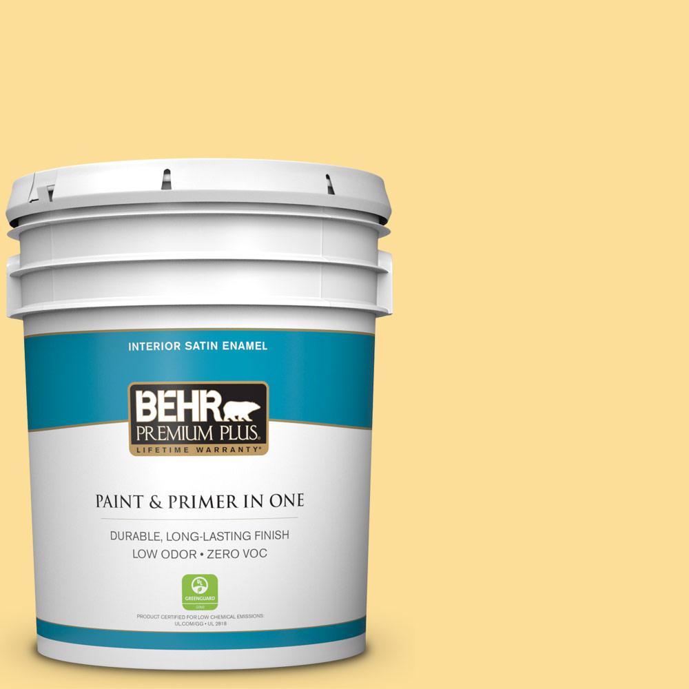 BEHR Premium Plus 5-gal. #350B-5 Straw Hat Zero VOC Satin Enamel Interior Paint