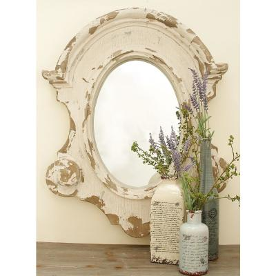 Large Oval White Contemporary Mirror (43 in. H x 35 in. W)
