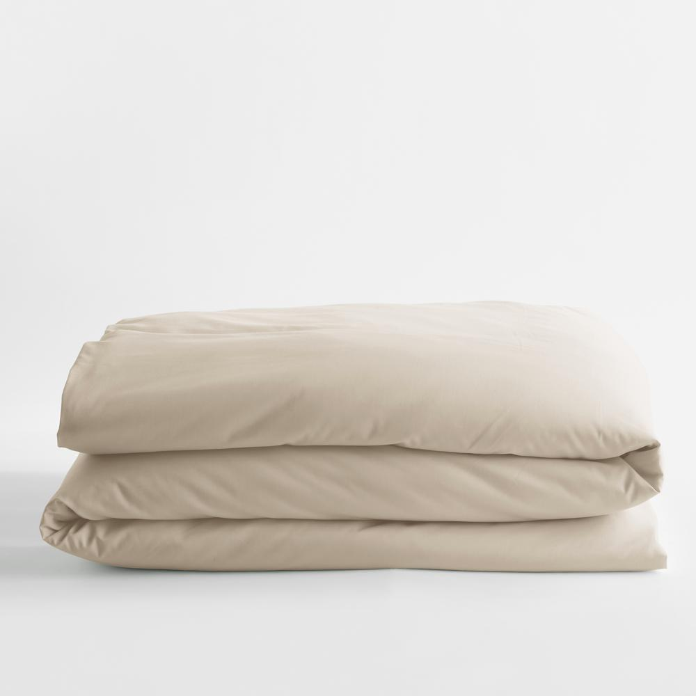 Sand Solid Bamboo Cotton Sateen Full Duvet Cover