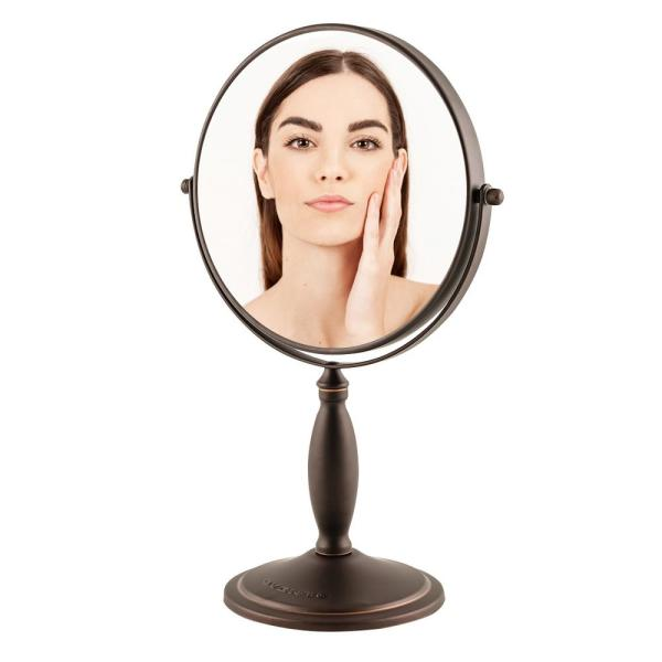Antique Bronze Tabletop Makeup Mirror, 8 Inch, Dual-Sided 1x / 7x Magnification (MNLAT80ABZ1X7X)