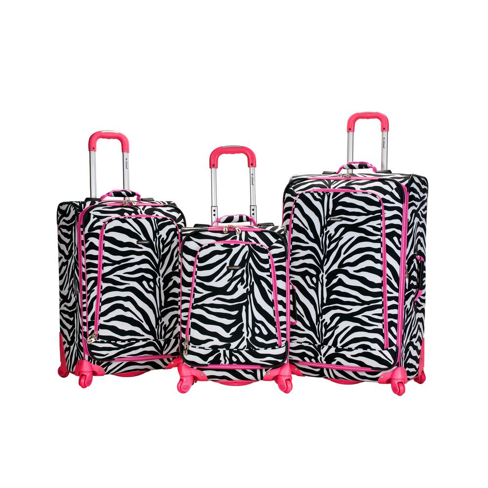 Rockland Fusion 3-Piece Luggage Set, Pinkzebra