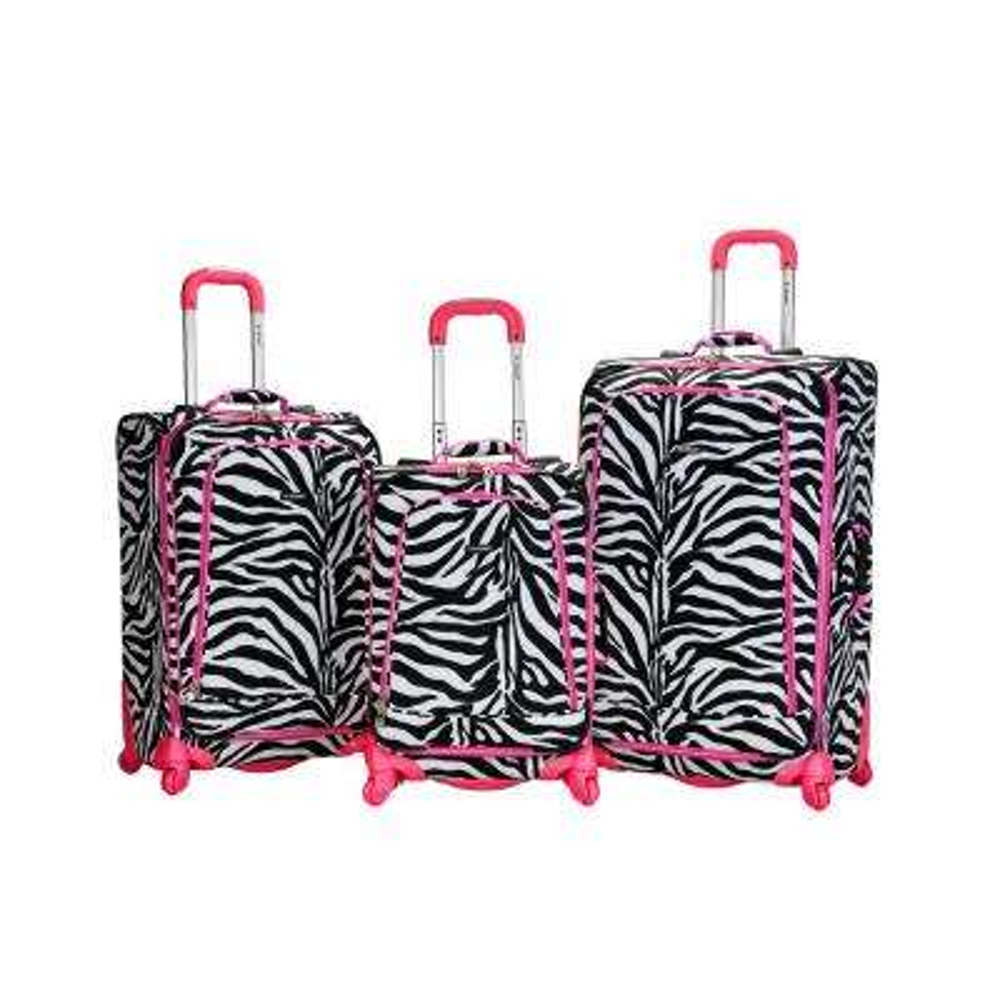 Rockland Expandable Fusion 3-Piece Softside Luggage Set, Pinkzebra