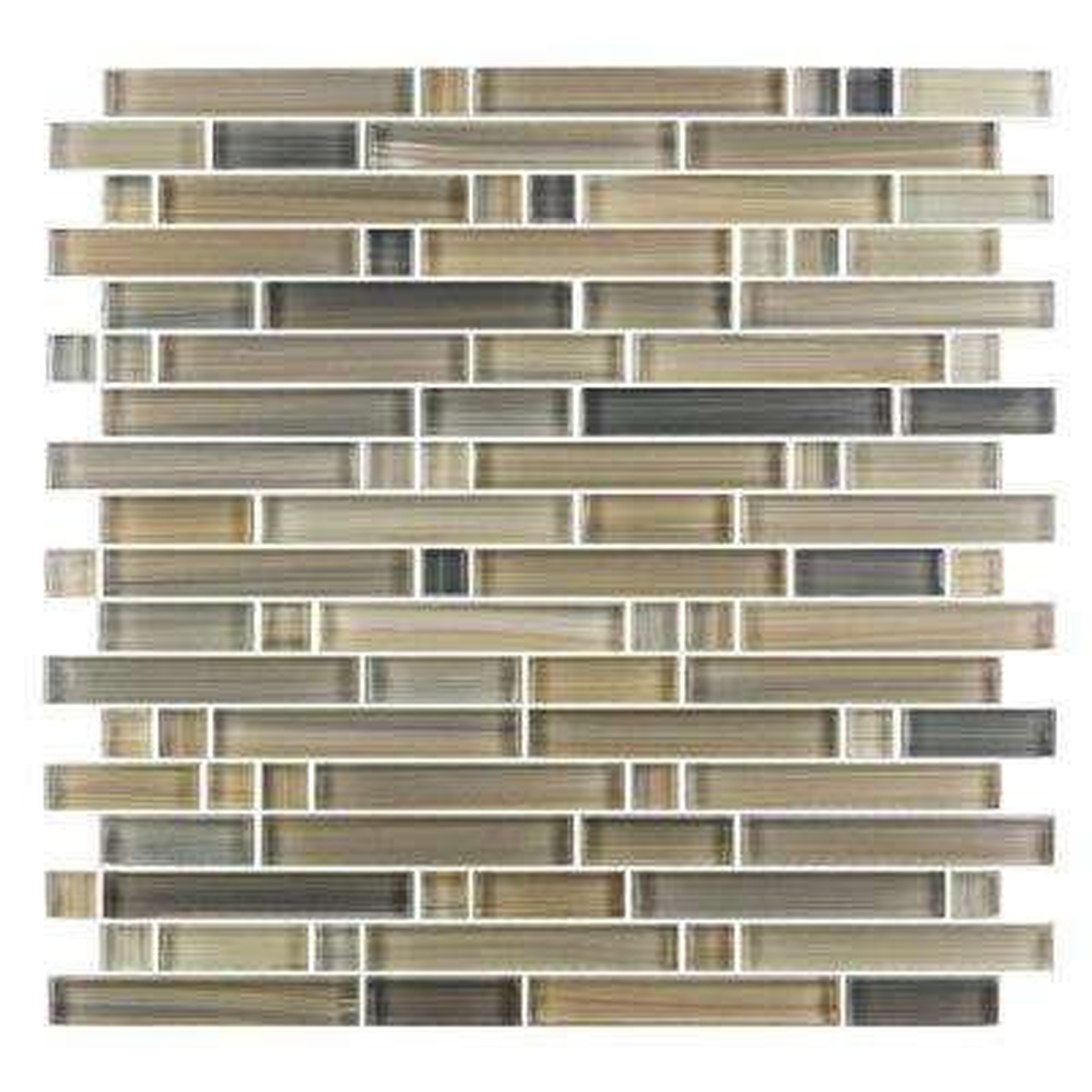 Handicraft II Beige Mix 12 in. x 12 in. Glass Linear Mosaic Tile