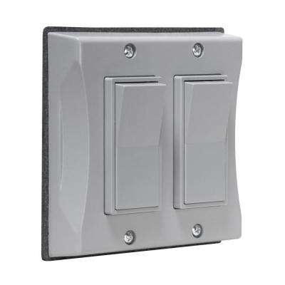 2-Gang Weatherproof Decorator Cover, Gray