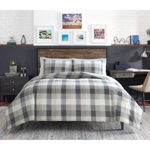 Portsmouth 3-Piece Gray Plaid Micro Suede King Comforter Set