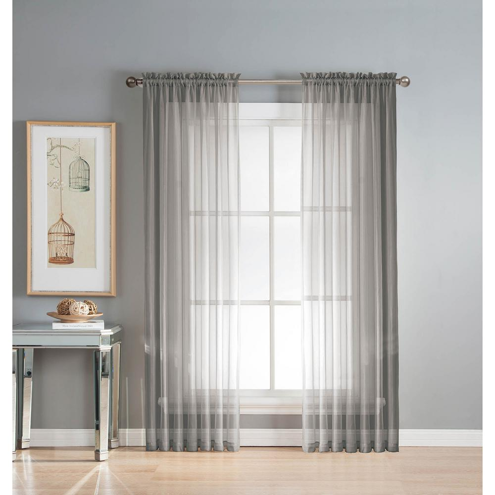 Window Elements Sheer Diamond Gray Rod Pocket Extra Wide Curtain Panel 56 In