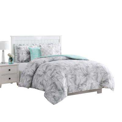 Belle 5-Piece Reversible Grey Queen Comforter Set