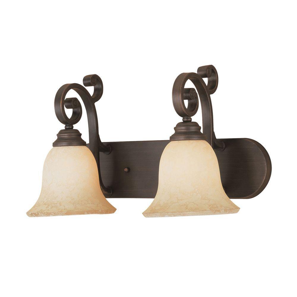 2-Light Rubbed Bronze Vanity Light with Turinian Scavo Glass
