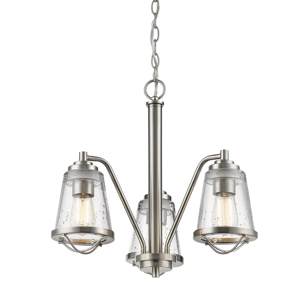 Filament Design Lorinda 3-Light Brushed Nickel Chandelier with Clear Seedy Glass Shade
