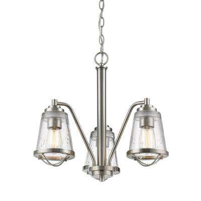 Lorinda 3-Light Brushed Nickel Chandelier with Clear Seedy Glass Shade
