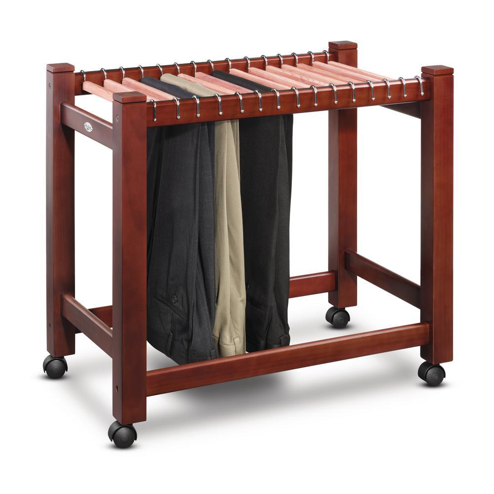Wooden/Cedar Pant Trolley Portable Wardrobe (