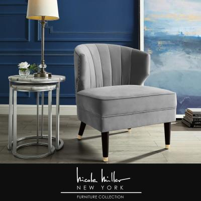 Harold Grey Velvet Accent Chair with Upholstered Armless