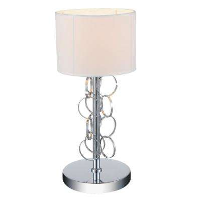 Chained 17 in. Chrome Table Lamp with White Shade