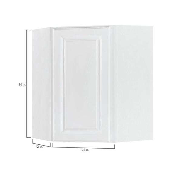 Hampton Bay Hampton Assembled 24x30x12 In Diagonal Corner Wall Kitchen Cabinet In Satin White Kwd2430 Sw The Home Depot