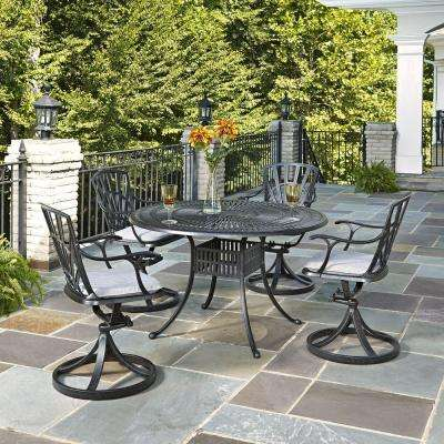 Largo 48 in. Cast Aluminum Outdoor 5-Piece Patio Dining Set with Gray Cushions