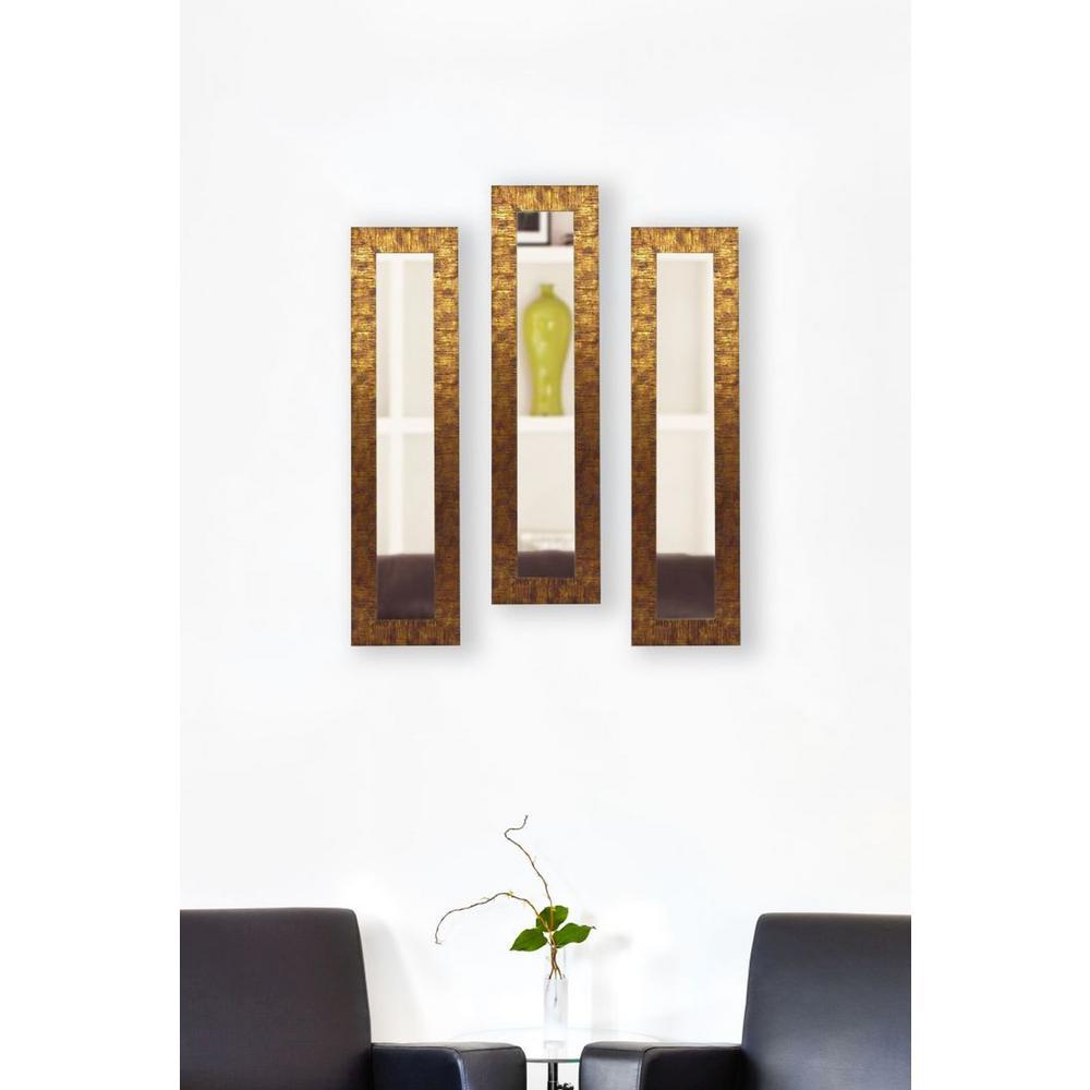 9.5 in. x 27.5 in. Safari Bronze Vanity Mirror (Set of 3-Panels)