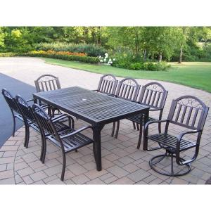 Rochester 9-Piece Metal Outdoor Dining Set with Rectangular Table 6 Arm Chairs and 2 Swivel Chairs by