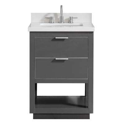 Allie 25 in. W x 22 in. D Bath Vanity in Gray with Silver Trim with Quartz Vanity Top in White with Basin