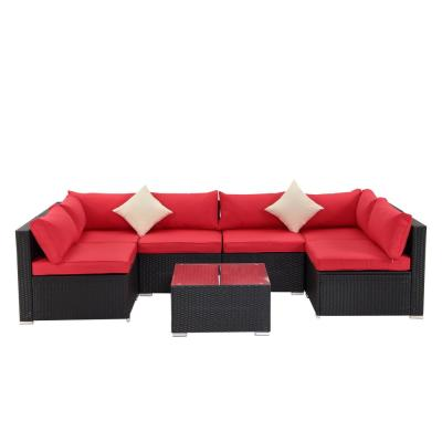Black 7-Piece PE Wicker Outdoor Patio Sectional Sofa with Red Cushions