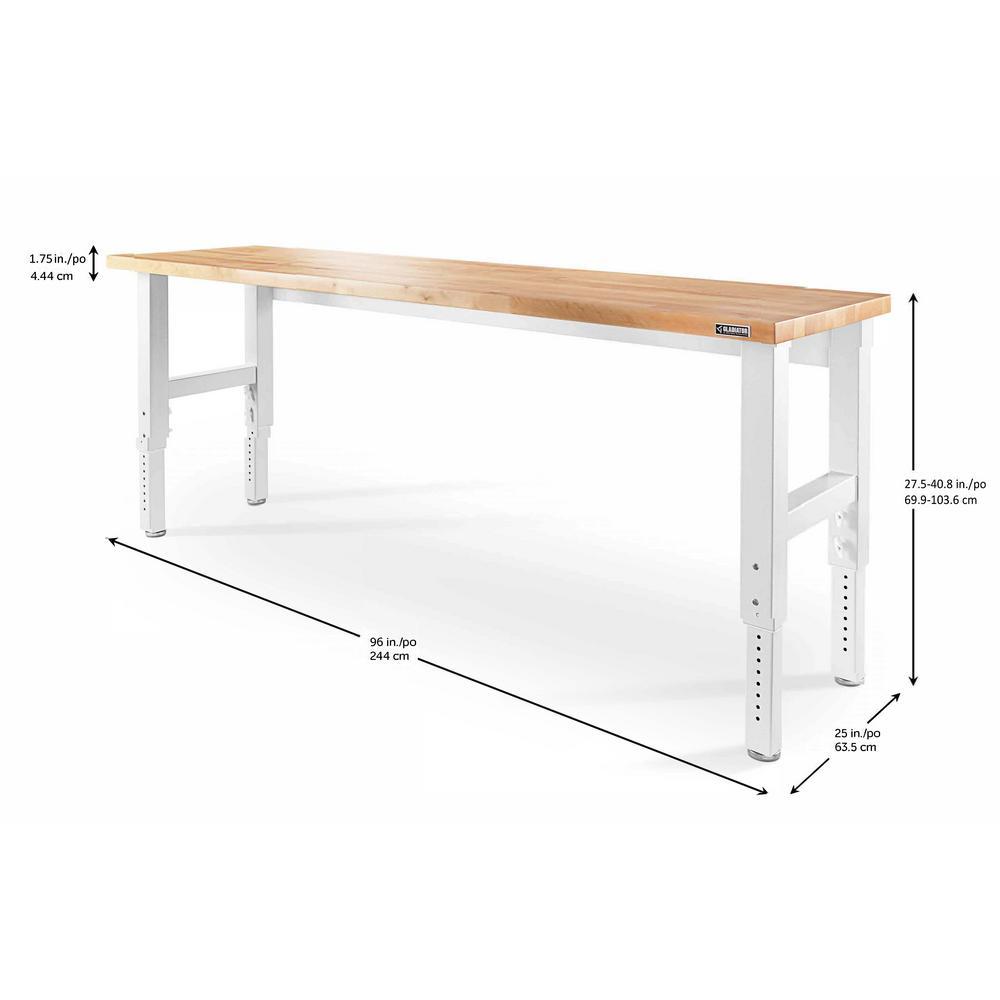 Marvelous Gladiator 8 Ft Adjustable Height Workbench With Hardwood Top In White Creativecarmelina Interior Chair Design Creativecarmelinacom