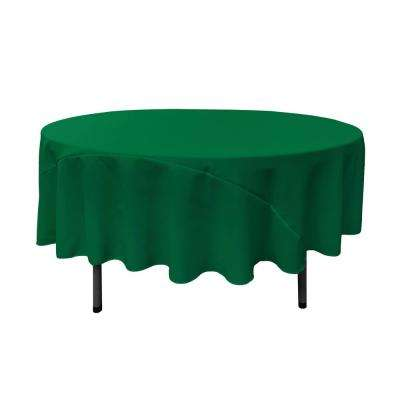 90 in. Round Emerald Green Polyester Poplin Tablecloth