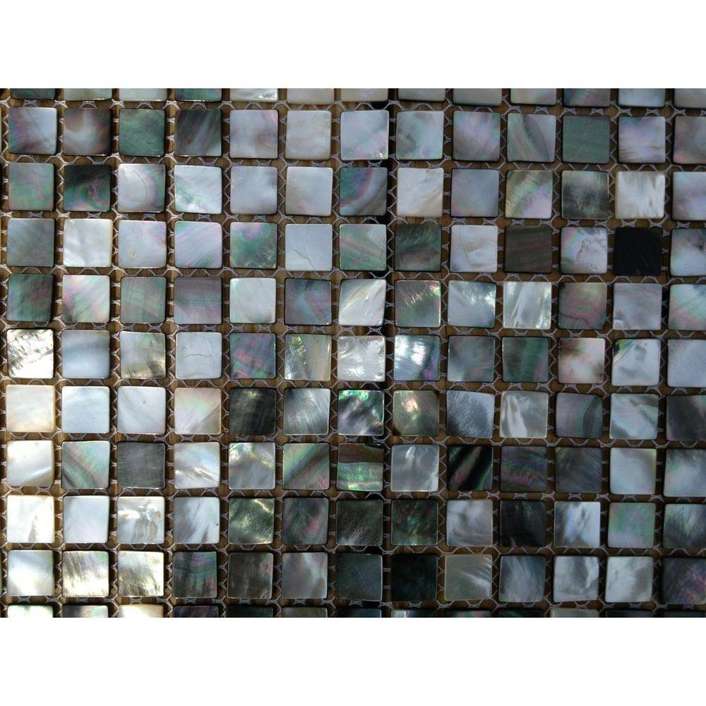 Mother of Pearl Deep Ocean Gray Squares Pearl Shell Mosaic Floor