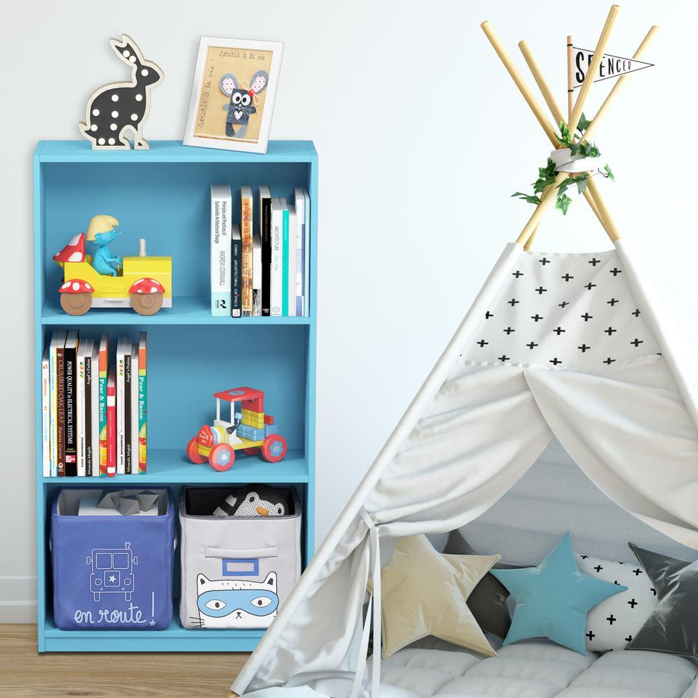 Furinno Furinno Basic 3-Shelf Light Blue Open Bookcase