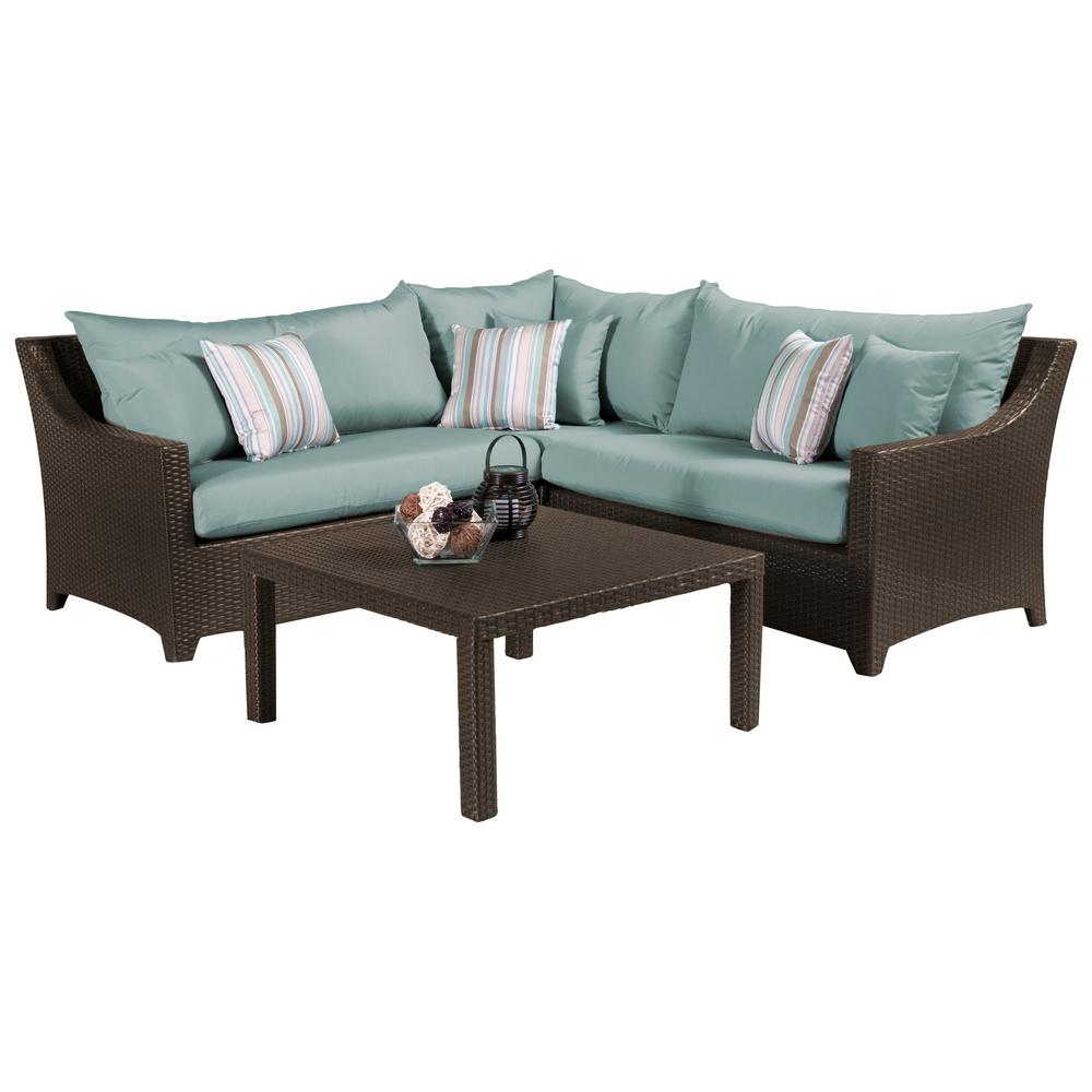 RST Brands Deco 4-Piece Patio Sectional Set with Bliss Blue Cushions