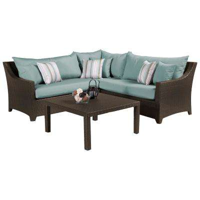Deco 4-Piece Patio Sectional Set with Bliss Blue Cushions