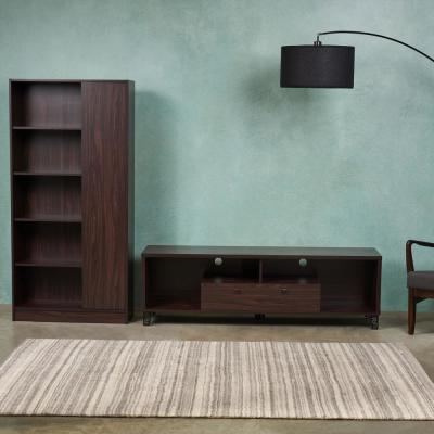 63 in. Walnut MDF Entertainment Center with 2-Drawer Fits TVs Up to 63 in. with Media Cabinet