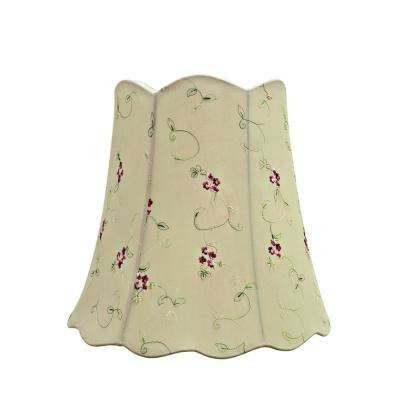 16 in. x 15 in. Apricot and Embroidered Floral Scallop Bell Lamp Shade