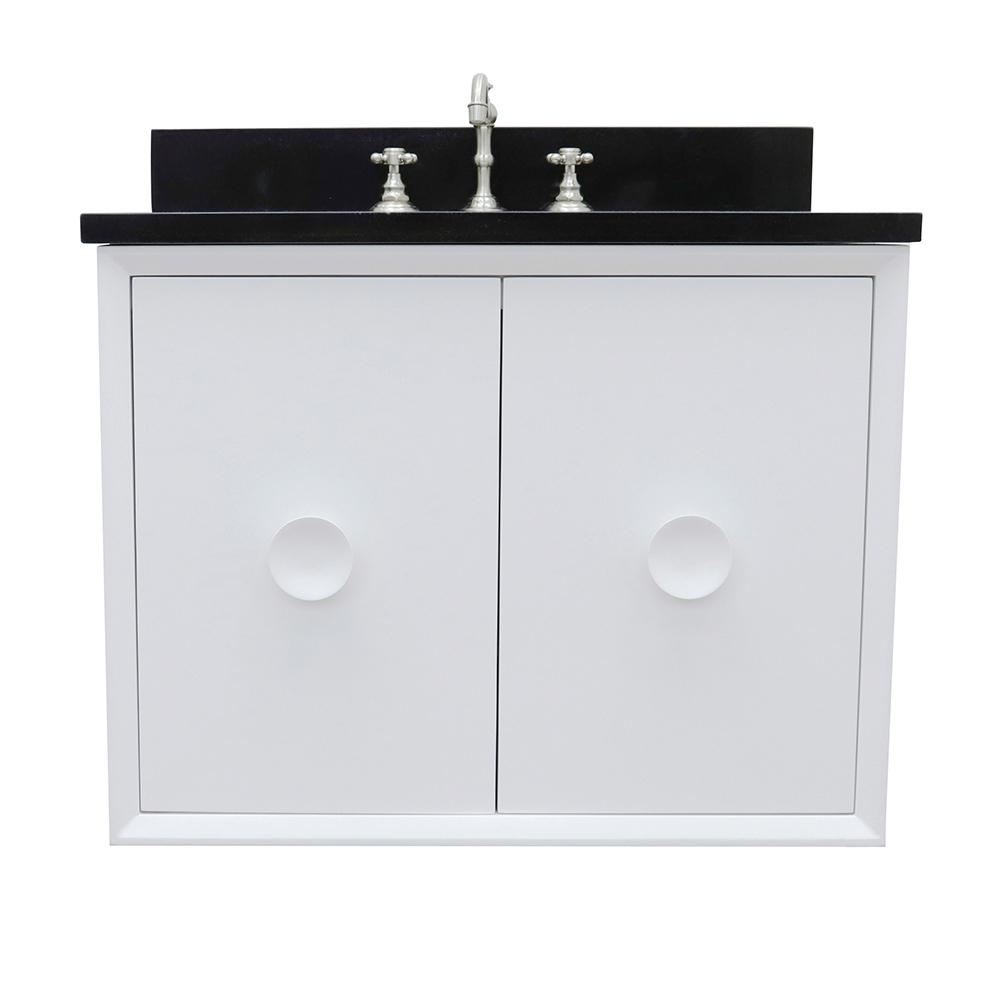 Bellaterra Home Stora 31 in. W x 22 in. D Wall Mount Bath Vanity in White with Granite Vanity Top in Black with White Oval Basin