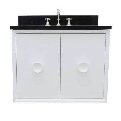 Stora 31 in. W x 22 in. D Wall Mount Bath Vanity in White with Granite Vanity Top in Black with White Oval Basin