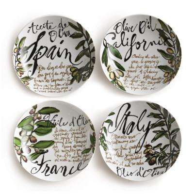 Olive Oil White Pasta Bowls (Set of 4)