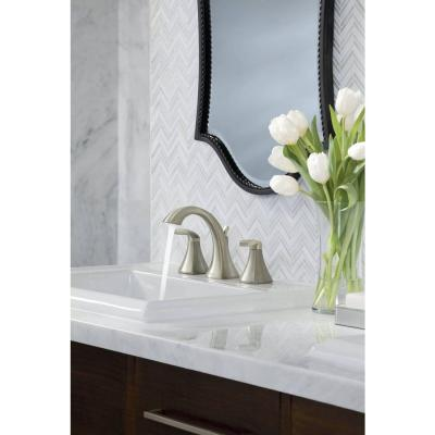 Voss 8 in. Widespread 2-Handle High-Arc Bathroom Faucet Trim Kit in Brushed Nickel (Valve Included)
