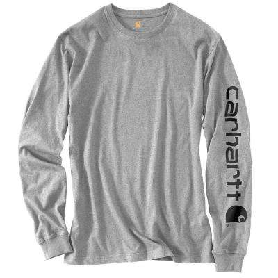 Men's Regular Medium Heather Gray Cotton/Polyester Long-Sleeve T-Shirt