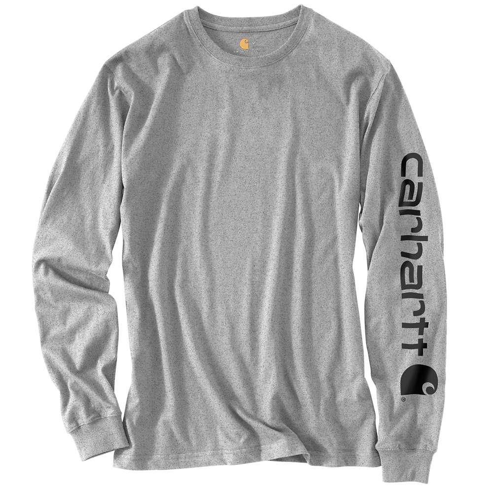 f78c5387e Carhartt Men s Regular Medium Heather Gray Cotton Polyester Long-Sleeve T- Shirt