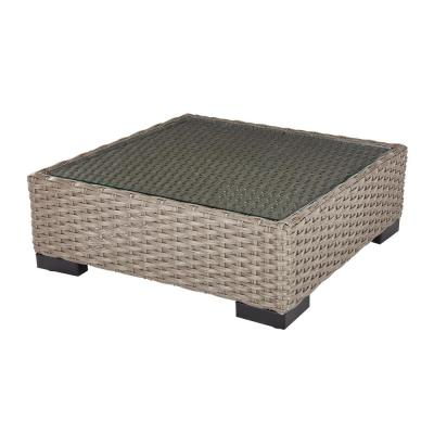 Commercial Gray Square Wicker Outdoor Patio Coffee Table with Glass Top