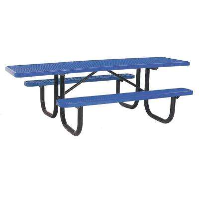 Metal picnic tables park furnishings the home depot diamond blue commercial park ada rectangular portable table watchthetrailerfo