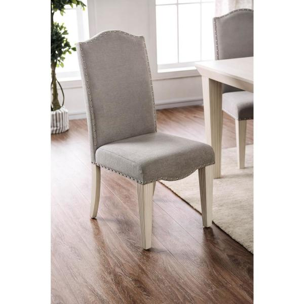 William's Home Furnishing Daniella Gray and Antique White Transitional Style Side Chair