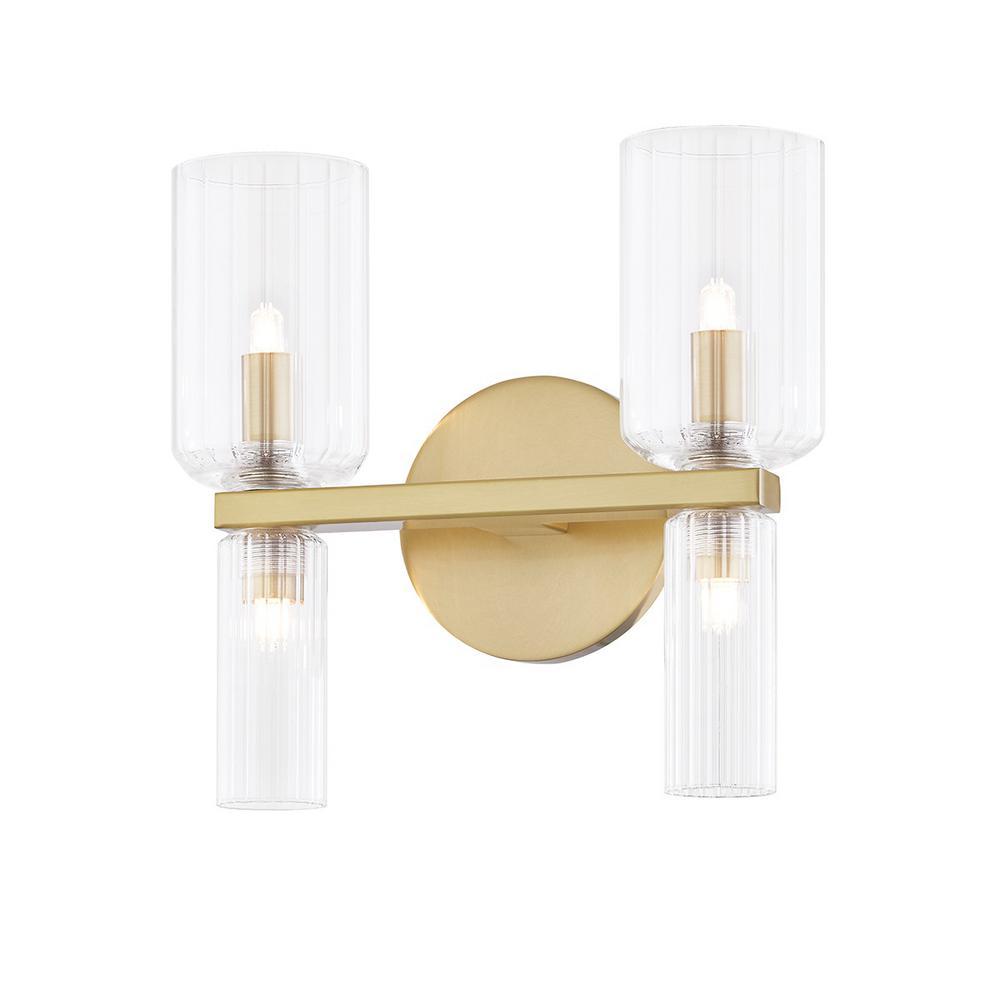 Tabitha 4.75 in. 2-Light Aged Brass Vanity Light